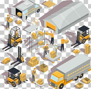 Warehouse Logistics Forklift Isometric Projection PNG