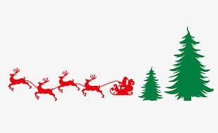 Christmas Tree Santa Claus Sleigh Silhouette Elk PNG