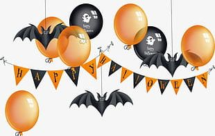 Halloween Balloons Hanging Flags PNG