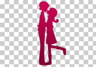 Silhouette Couple Kiss PNG