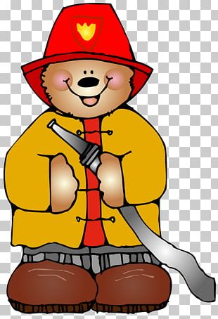Firefighter Bear Open Fire Safety PNG