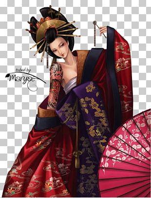 Geisha Japanese Art Painting PNG