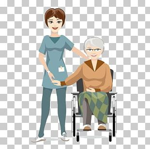 Elderly Disability Nurse Drawing PNG