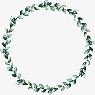 Watercolor Wreath Of Green Leaves PNG