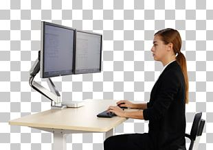 Sit-stand Desk Computer Monitors Sitting PNG