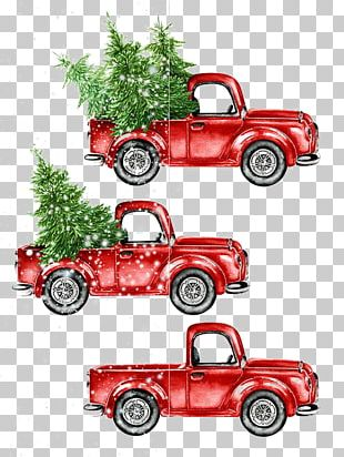 Car Watercolor Painting Christmas PNG