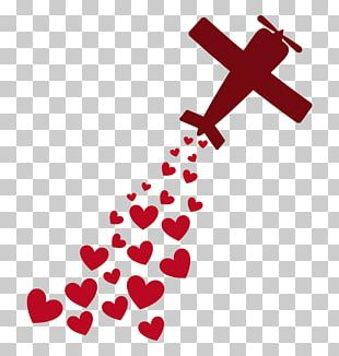 Airplane Love Heart Romance PNG