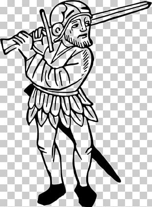 Swordsmanship T-shirt Black And White PNG