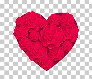 Garden Roses Valentines Day Heart Petal PNG