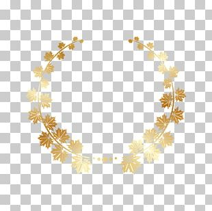 Gold Maple Leaf Wreath Ring PNG