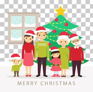 Christmas Tree Family Illustration PNG