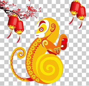 Poster Monkey Chinese New Year PNG