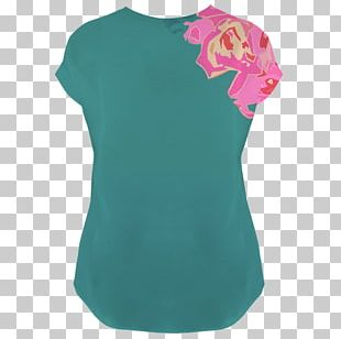 Sleeve T-shirt Shoulder Blouse Turquoise PNG