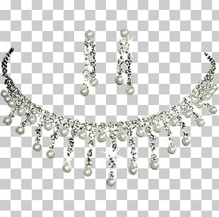 Pearl Body Jewellery Necklace Silver PNG