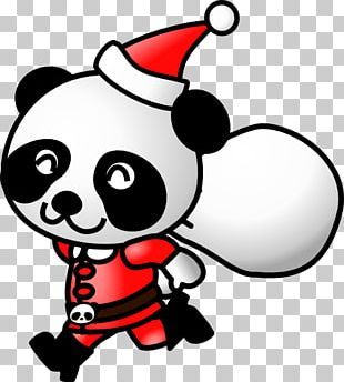 Santa Claus Giant Panda Wedding Invitation Candy Cane Christmas PNG