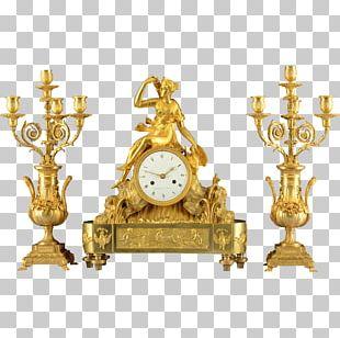 Mantel Clock Garniture Antique Gilding PNG