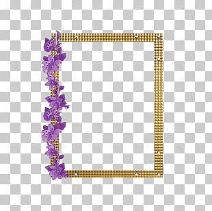Purple Frame Golden Frame PNG