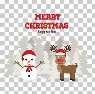 Reindeer Christmas Card Santa Claus PNG