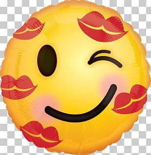 Emoji Kiss Mylar Balloon Emoticon PNG