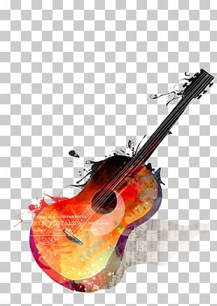Watercolor Painting Guitar Musical Instrument Drawing PNG
