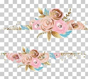 Pink Flowers Rose Dress Gold PNG