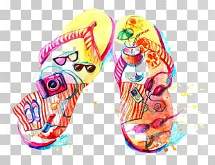 Flip-flops Watercolor Painting Drawing Illustration PNG