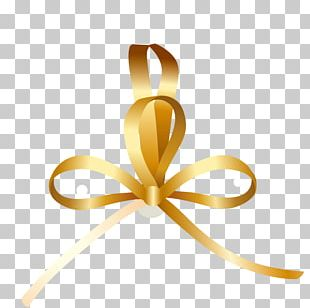 Ribbon Butterfly Gold PNG