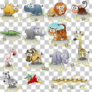 Hand-painted Cartoon Animals PNG