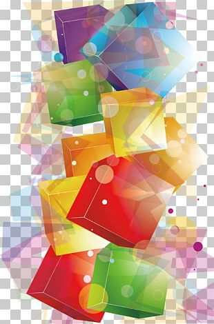 Crystal Cubes Geometry PNG