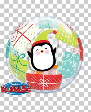 Santa Claus Penguin Balloon Christmas Day Gift PNG