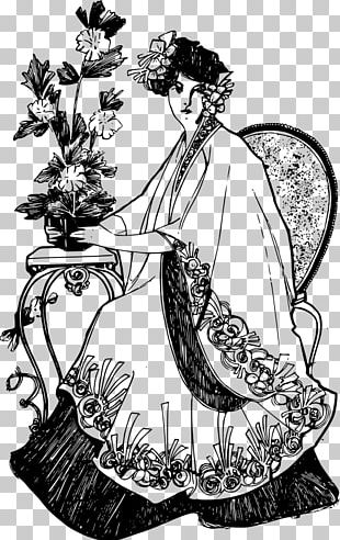 Flower Black And White Woman PNG