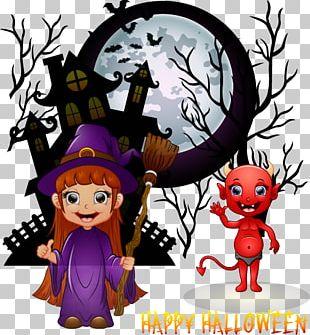 Halloween Skeleton Cartoon Illustration PNG