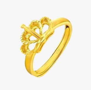 Chow Tai Fook Gold Ring Car Flower Crown PNG
