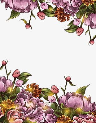 Hand-painted Floral Border Background PNG