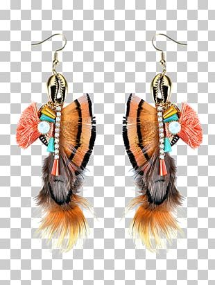 Earring Кафф Gold Plating Feather PNG