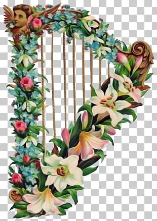 Harp Full-Color Fruits And Flowers Illustrations Music PNG