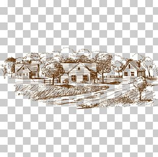 Village Drawing Sketch PNG