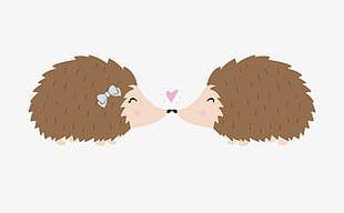 Hand-painted Cartoon Hedgehog Lovers PNG