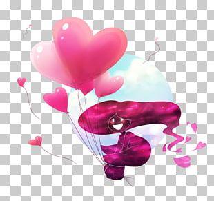 Petal Balloon Pink M Heart PNG
