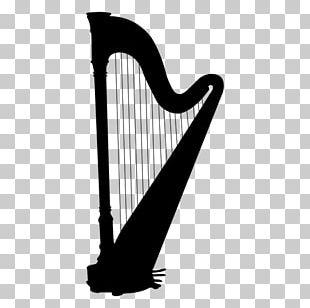 Celtic Harp Silhouette Musical Instruments PNG