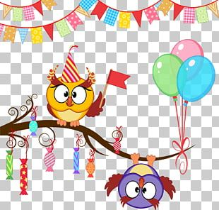 Owl Party Birthday Gift PNG