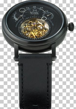 Automatic Watch Watch Strap Skeleton Watch Black Leather Strap PNG