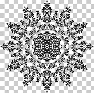 Black And White Floral Design Ornament Pattern PNG