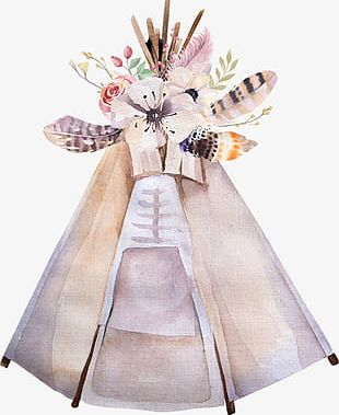 Beautiful Hand-painted Flowers Feather Light Tent PNG