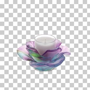Daum Candlestick Rose Green Glass PNG
