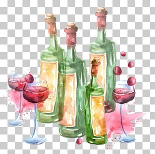 Red Wine Liqueur Glass Bottle PNG