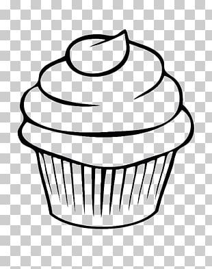 Cupcake Drawing Line Art Watercolor Painting PNG