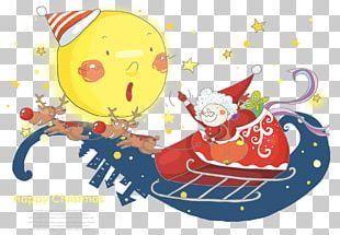 Santa Claus Christmas Reindeer Cartoon Illustration PNG
