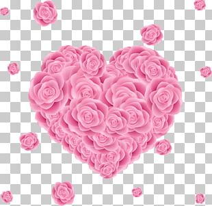 Beach Rose Valentines Day Heart PNG