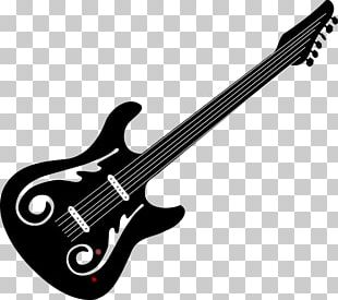 Bass Guitar Black And White Electric Guitar PNG